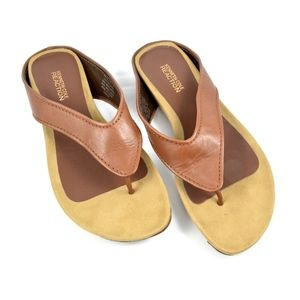 Shoes - KENNETH COLE Reaction Leather Thong Wedge Sandals